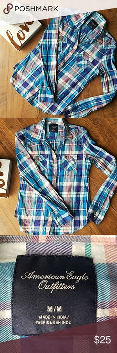 """💕 American Eagle Plaid Snap Up Shirt 💕 EUC without any flaws. Such a prettier color than what I could capture in the pictures. Snap closure. From armpit to armpit laid flat is approximately 19"""" across and length is approximately 24"""" long. American Eagle Outfitters Tops Button Down Shirts"""