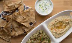 Mediterranean Fiesta: Hummus, Baba Ghanoush & Tzatziki with home-made PitaChips
