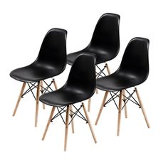 Replica Eames DSW Dining Chair - BLACK X4 - 9352338001237 For Sale, Buy from Dining Chairs Sets of 4 collection at MyDeal for best discounts.