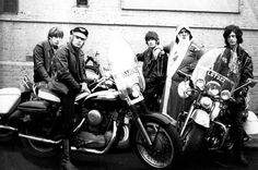 """Photographer Chris Dreja: """"Peter Grant [Led Zeppelin's manager] had an office on the New King's Road next to a bike shop, so we decided to do the shoot on bikes. We had new Harley Davidsons brought round for us. Jimmy and I couldn't ride a bike to save our lives – the only one who could was Keith [Relf]. Peter's dressed as Father Christmas; that's so typical of him."""" (Photo: ©Chris Dreja/Proud Galleries)"""