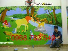 Ctrình vẽ tường trường mầm non Hoa Nắng, màu sắc rực rỡ