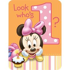 Minnie Mouse 1st Birthday Invitations (8-pack) - Invites & Thanks & Party Supplies