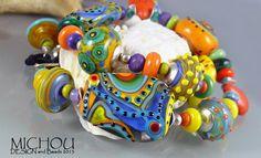 Carnival+Sunshine++Lampwork+Bracelet+in+yellow+by+MichouJewelry,+$179.00