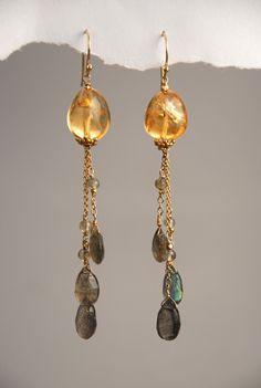 Citrine and labradorite earrings