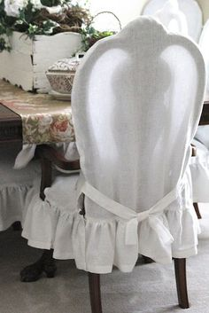 Common Ground: Dining Chairs Slip Cover (slipcovers by Inspirational Home~Springfield, MO) by estelle Shabby Chic Chairs, Shabby Chic Furniture, Shabby Chic Decor, Modern Furniture, Furniture Design, Dining Room Chair Slipcovers, Dining Room Chairs, Office Chairs, Club Chairs
