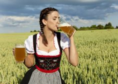 Beatiful girl with beer in both hands - beer, drink, nature, girl