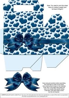 Gable top box Blue Hearts on Craftsuprint designed by Judith Flavel