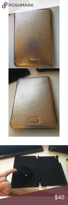 Kate Spade New York iPad Mini Case Folio. Kate Spade New York iPad Mini Case Folio. Does have a stand that will stand the iPad up landscape wise. The color is Rose Gold. #ipadmini #katespade #ksny kate spade Accessories Tablet Cases
