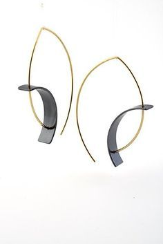 Tension Earring by Hilary Hachey: Gold & Silver Earrings available at www.artfulhome.com