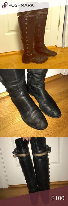 Sam Edelman over the knee leather boots Sam Edelman leather boots over the knee - buttons on one side , half calf zipper , renewed heels at some point , super cool boots . Always got tons of compliments anywhere I went in these boots . Sam Edelman Shoes Over the Knee Boots