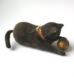 Antique Tin Wind-Up Cat tin litho toy Cat with Ball by QuirkMuseum
