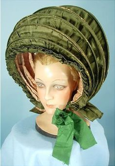Calash Bonnet of Green Silk c. late 18thC  A big hat for BIG Hair!