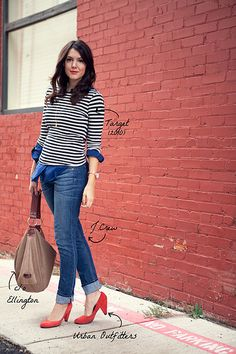 Skinny Jeans, Button-up (blue or white), striped long-sleeve shirt