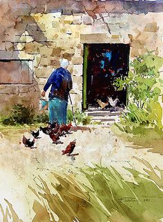 "Carl Purcell WATERCOLOR - ""Dinner Time"": feeding the chickens I like the stones on the building Art Aquarelle, Watercolor Animals, Watercolor Landscape, Watercolour Painting, Painting & Drawing, Watercolors, Chicken Art, Guache, Watercolor Techniques"
