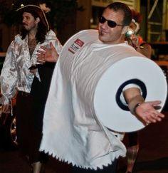 Homemade toilet paper roll costume. More homemade Halloween costume ideas on Household Management 101.