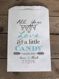 ... is Love Wedding Favor Bags-Candy Buffet Bags-Wedding bags Personalized