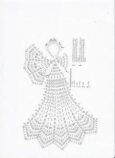 Stylowa kolekcja inspiracji z kategorii Hobby Crochet Angel Pattern, Crochet Angels, Crochet Doily Patterns, Crochet Chart, Thread Crochet, Crochet Motif, Crochet Doilies, Crochet Lace, Christmas Crochet Patterns