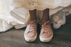 Bride wedding shoes - rustic, alternative, unique, rose, blush, pink, sneakers, vans  {DPfilms Productions}