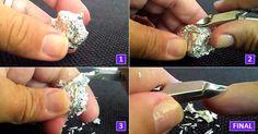 Como amolar alicate de unha com papel alumínio