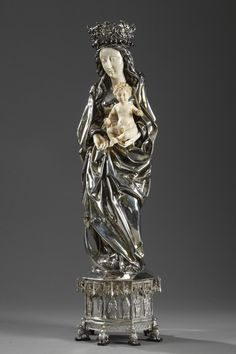 Silver and Ivory Virgin Mary and Child - 19th Century