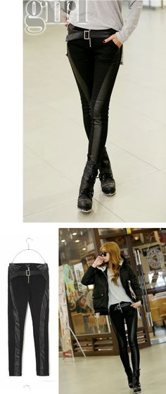 Koo: Buckled Faux-Leather-Detail Skinny Pants