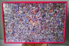 """Finished Baseball Card Art Piece...Framed Baseball Collage #5.Year 1989/1990. Each card cut by hand. Total Cards 742. Size 36"""" by 24"""". Total hours 113. Price $475.00. Shipping included.  All my Sport Card Collages are One Of A Kind Art Pieces If interested, please send me a email at sportcardart@yahoo.com"""