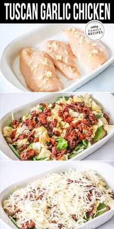 This easy Tuscan Garlic Chicken recipe is a wonderful dinner for a busy night and even a great dinner idea for company! The flavors are delicious an Heart Healthy Chicken Recipes, Garlic Chicken Recipes, Salmon Recipes, Healthy Dinner Recipes, Tofu Recipes, Heart Healthy Dinner, Healthy Garlic Chicken, Baked Chicken, Carrot Recipes