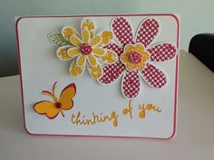 CTMH Horray Bouquet stamp set on top of artfully sent Cricut cartridge cut (Thinking of You w/butterfly)
