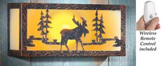 Antique Bronze-Colored Northwoods Canadian Moose Silhouette Wall Lamp w/ Remote #Unbranded #Lodge