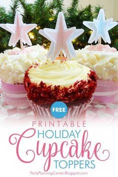 FREE Printable Holiday Cupcake Toppers and Appetizer Picks | These pastel cupcake toppers / appetizer picks are a softer take on the usual red and green for Christmas. But they're just as festive! They also come with mix-and-match gift bag templates and a DIY paper Christmas wreath with a photo tutorial.  #HolidayPrintables #FREEPrintables #ChristmasPrintables #ChristmasCupcakes #ChristmasDesserts #CarlaChadwick Christmas Cupcake Toppers, Christmas Tree Template, Holiday Cupcakes, Free Christmas Printables, Party Printables, Shabby Chic Cupcakes, Pastel Cupcakes, Days To Christmas, Christmas Desserts