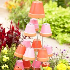 Terra-Cotta Pot Garden Decoration --I wonder if Mom would like this maybe in different colors?