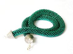 Teal Necklace Beaded Crochet Made to Order by Luthopika on Etsy, €32.00