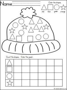 January morning work! - matching shape on winter hat freebie