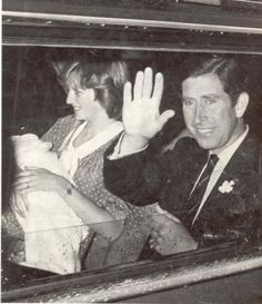 The new Royal parents : Prince Charles, Princess Diana holds their new baby boy, William as they drive home from the hospital. The little prince was born June 21,1982.