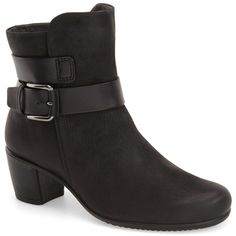 ECCO Touch Mid Bootie (170 AUD) ❤ liked on Polyvore featuring shoes, boots, ankle booties, stacked heel ankle boots, stacked heel booties, round toe ankle boots, rounded toe boots and short boots