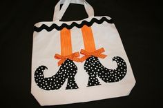 RUFFLED CANVAS TOTE IDEAS | Witch Feet Applique Halloween Trick or Treat Bag by turtletaylor