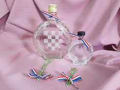 Etched glass bottles that resemble the look of a čuturica. Personalized to your liking. Check them out in store. Wedding Themes, Diy Wedding, Wedding Favors, Croatian Wedding, Blue Ribbon, Glass Bottles, Christmas Bulbs, Holiday Decor, Etched Glass