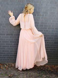 BLUSH pink chiffon 1970s gown. flowy sleeves. summer wedding. simple bohemian wedding dress. poet sleeves romantic angelic hippie dress on Etsy, $105.75 AUD
