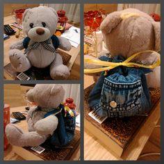 Cute teddy bear Wiem with a small handmade backpack :)