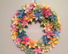 Spring is natures way of saying lets party this wreath is inspired fairy tale origami paper flower wreath wedding birthday table centerpiece baby shower nursery bridal shower tea party mightylinksfo