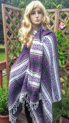 Purple Mexican Serape Blanket Shawl Wrap Mexican by FashNerds