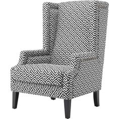 Eichholtz Eleventy Modern Classic Black White Greek Key Patterned Club... ($1,722) ❤ liked on Polyvore featuring home, furniture, chairs, accent chairs, upholstered club chairs, upholstered chairs, contemporary wingback chair, fabric chairs and black and white upholstered chair