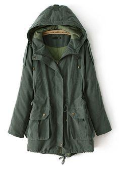 Army Green Drawstring Pockets Synthetic Fiber Padded Coat