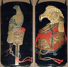 Case (Inrô) with Design of Hawks on Tasseled Perches Kano Terunobu (1717–63) Date: 19th century Culture: Japan Medium: Lacquer, roiro, white lacquer, gold and coloured hiramakie; Interior: nashiji and fundame