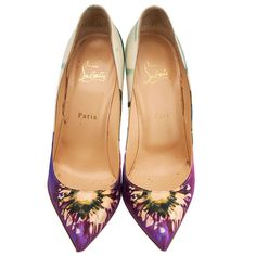 cbffcff0aae1 ... floral canvas shoes. Pre-owned Christian Louboutin Pigalle Follies 100  Maxi Fiori Satin... (375