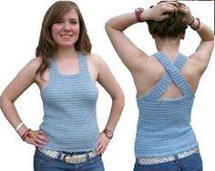 Blue Shimmer Shell Top Crochet Pattern