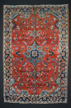 Vintage Persian Lilihan Rug // Size 4x6 // Tomato Red, Blues, Pinks & Green