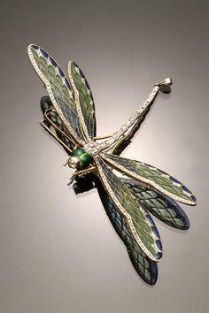 Plique a jour, diamonds, platinum, entremblant dragonfly pendant brooch