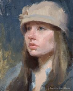 """""""Kayla"""" by Adam Clague • Oil on panel (Zorn palette) • 10""""x8"""" • Available (to inquire, email Contact@AdamClague.com)"""