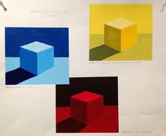 examples of monochromatic cubes | shading | 3-D | art class